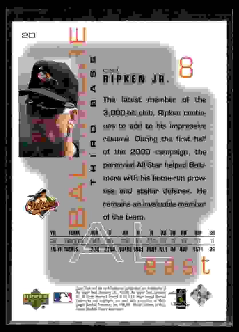 2000 Upper Deck Pros & Prospects Cal Ripken JR. #20 card back image