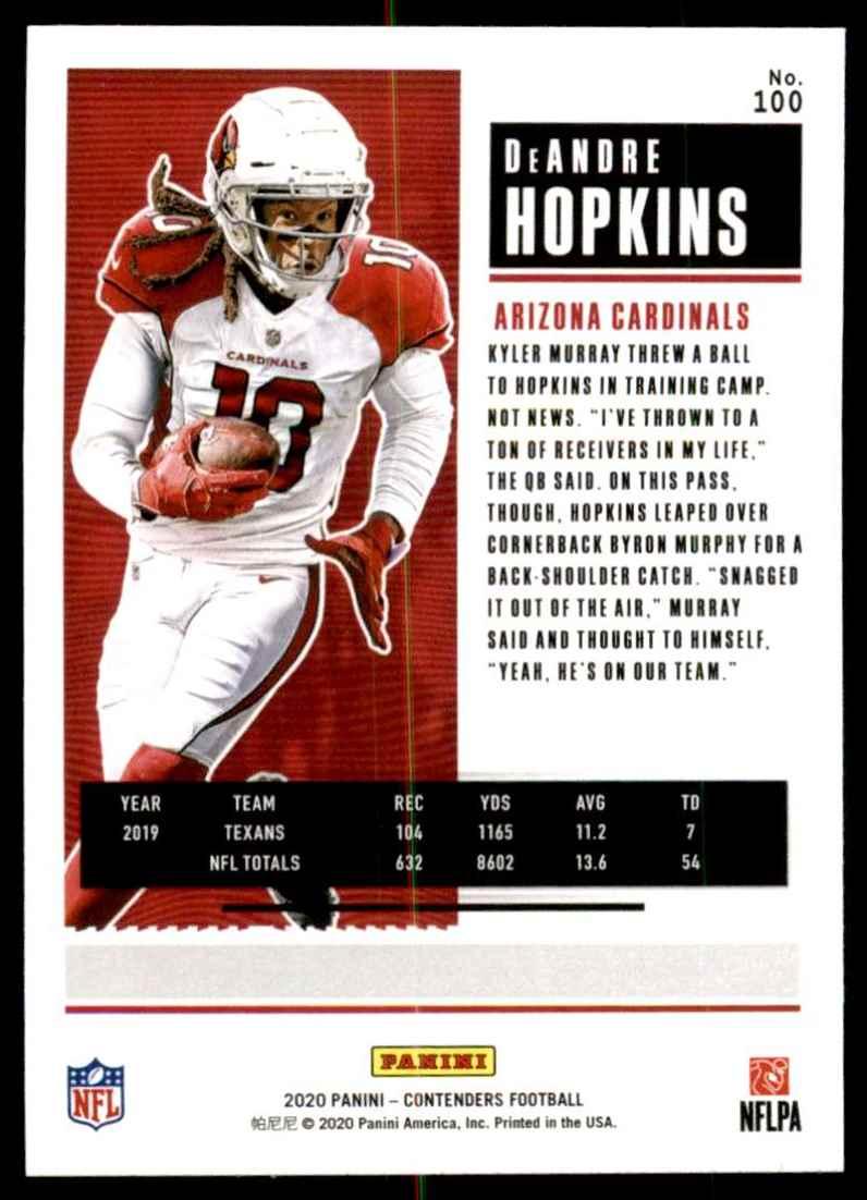 2020 Panini Contenders DeAndre Hopkins #100 card back image
