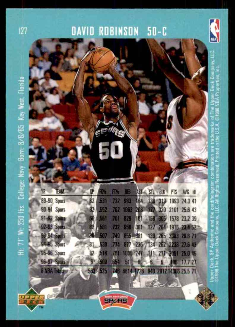 1997-98 SP Authentic David Robinson #127 card back image
