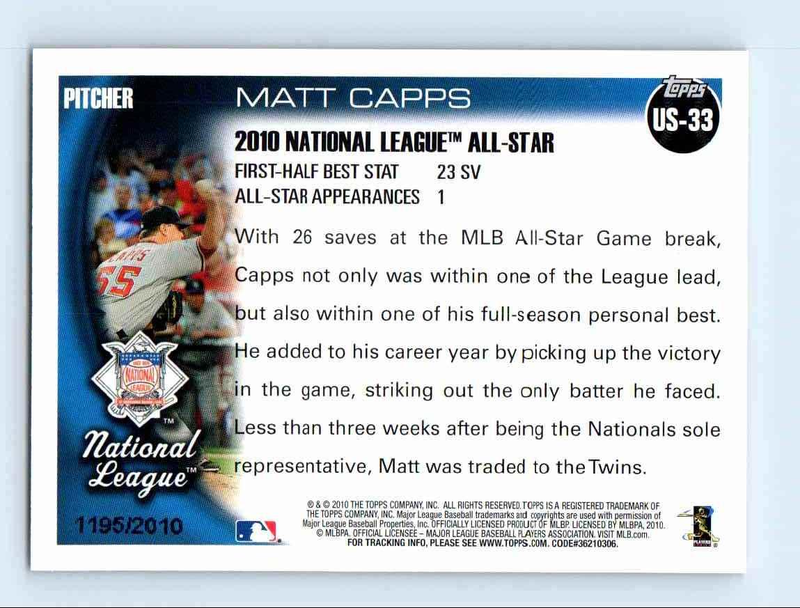 2010 Topps Update Gold Border Matt Capps #US-33 card back image