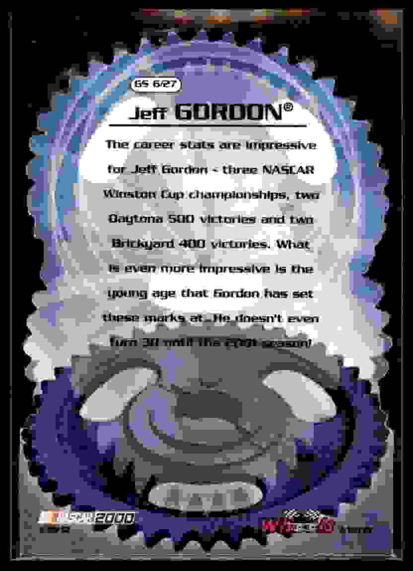 2000 Wheels High Gear Gear Shifters Jeff Gordon #GS6 card back image