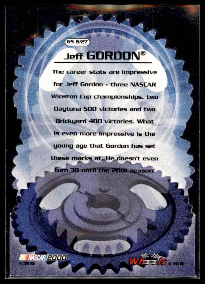 2000 Wheels High Gear Gear Shifters Jeff Gordon #GS6 card back image