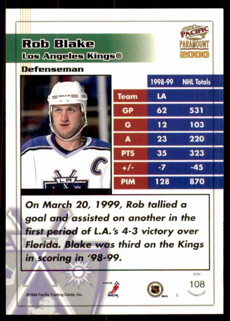 1999-00 Pacific Paramount Ice Blue Rob Blake #108 card back image