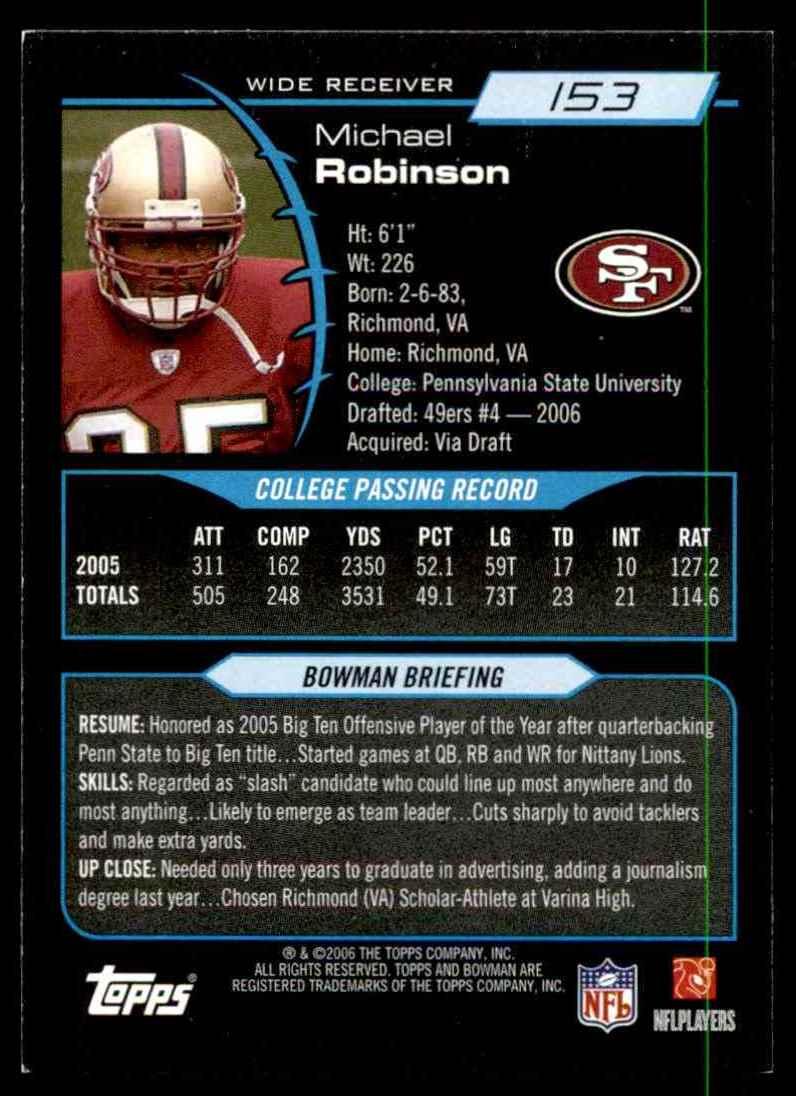 2006 Bowman Michael Robinson RC #153 card back image