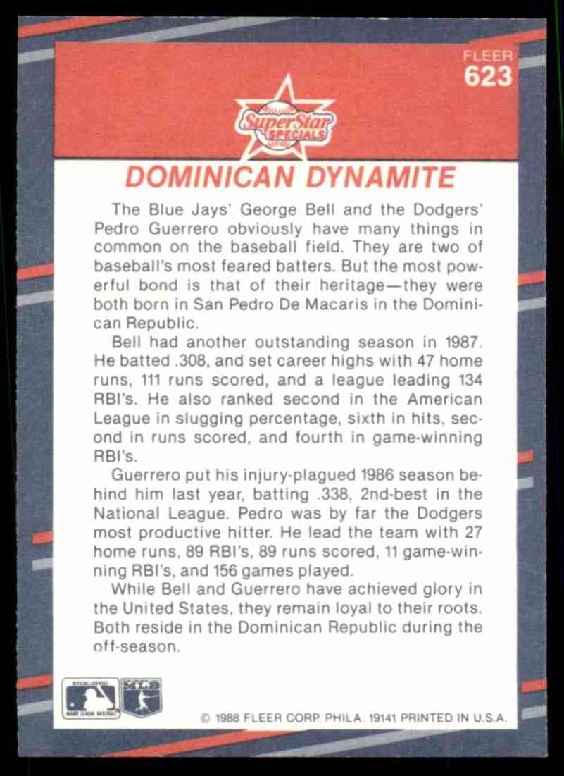 1988 Fleer George Bell/Pedro Guerrero #623 card back image