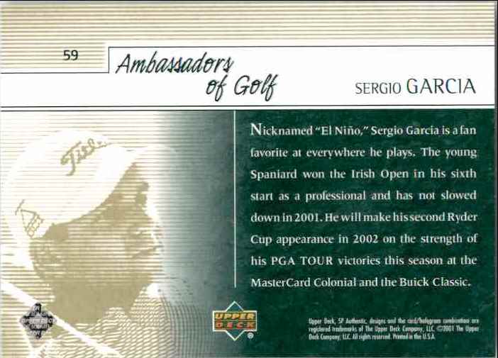 2001 SP Authentic Preview Sergio Garcia Ag #59 card back image