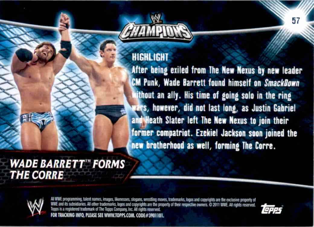 2011 Topps Wwe Champions Wade Barrett Forms The Corre #57 card back image