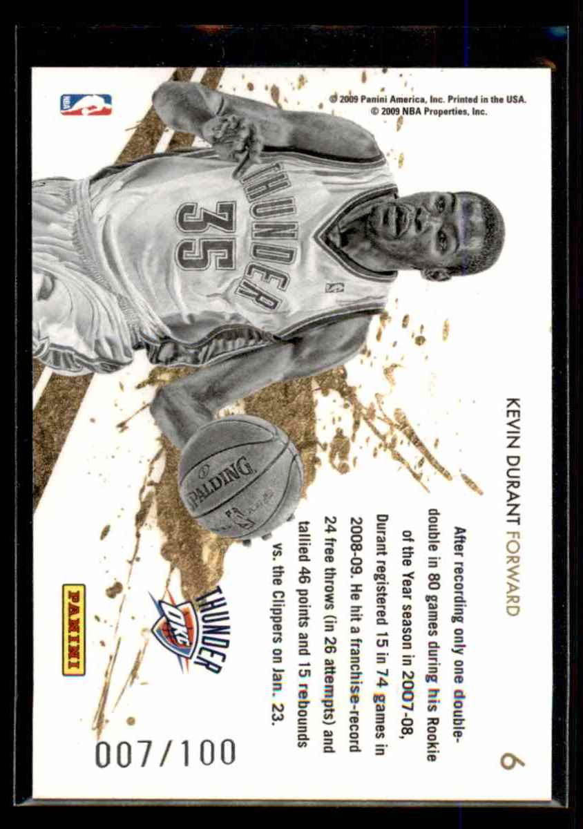 2009-10 Rookies And Stars Gold Stars Black Kevin Durant #6 card back image