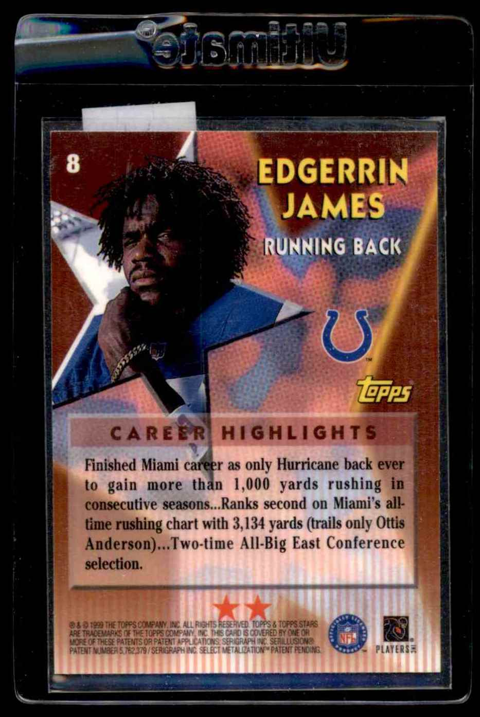 1999 Topps Stars Two Star Edgerrin James #8 card back image