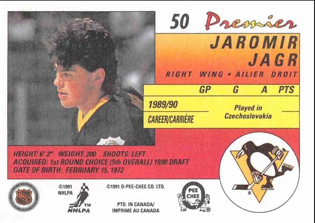 1990-91 O-Pee-Chee Premier Jaromir Jagr #50 card back image