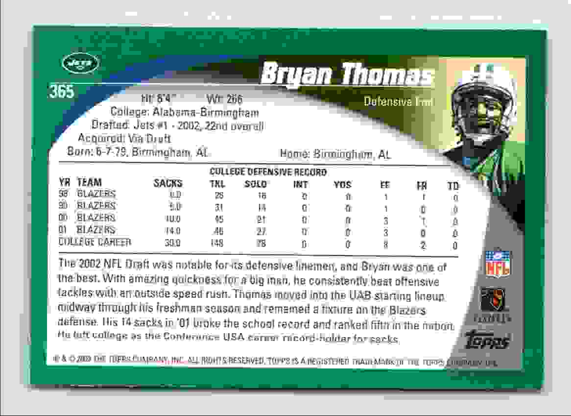 2002 Topps Bryan Thomas #365 card back image