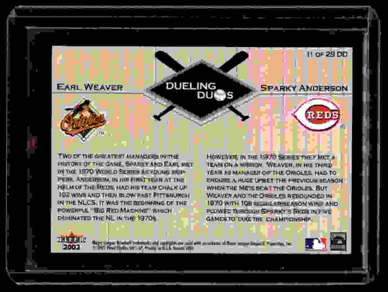 2002 Fleer Greats Dueling Duos Earl Weaver Sparky Anderson #11 card back image