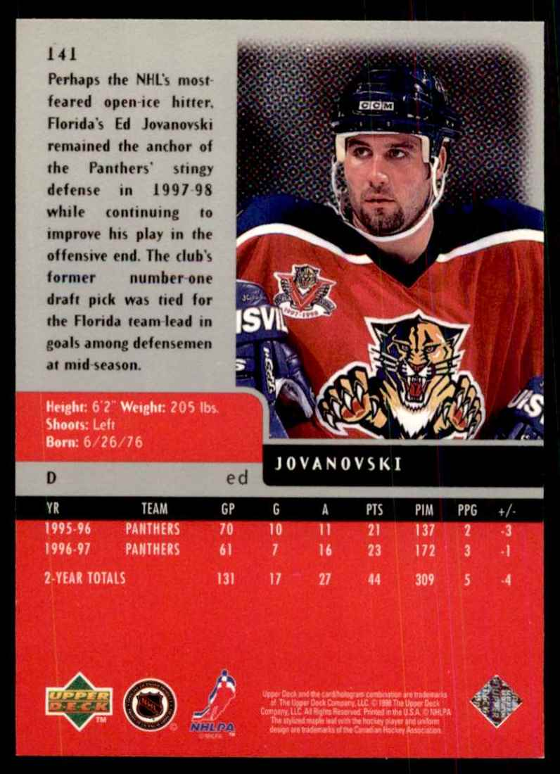 1997-98 Upper Deck Black Diamond Ed Jovanovski #141 card back image