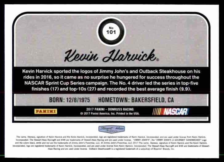 2017 Donruss Kevin Harvick #101 card back image