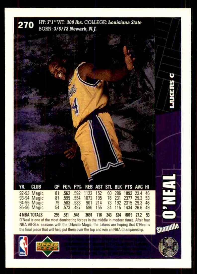 1996-97 Collector's Choice Shaquille O'Neal #270 card back image