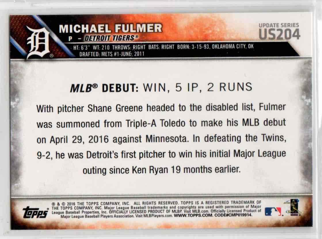 2016 Topps Update Michael Fulmer RD #US204 card back image