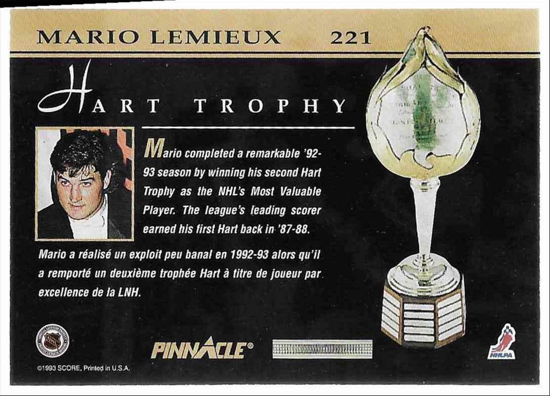1993-94 Pinnacle Mario Lemieux #221 card back image