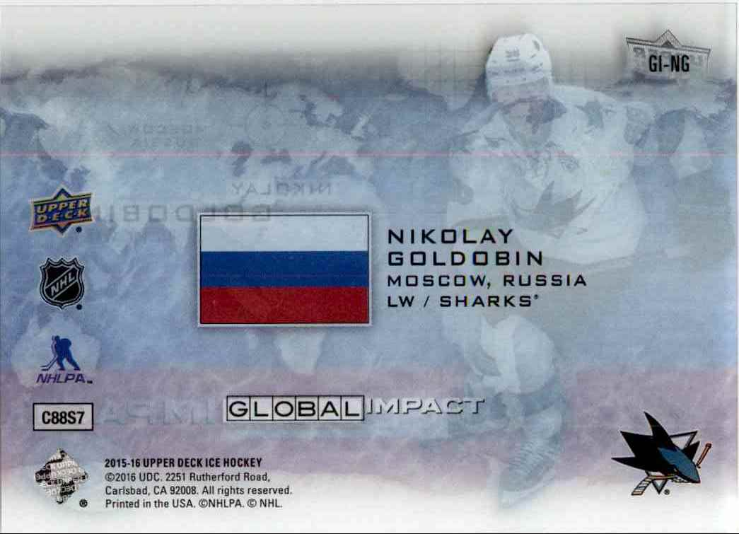 2015-16 Upper Deck Ice Global Impact Nikolay Goldobin #GI-NG card back image