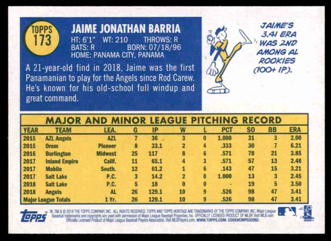 2019 Topps Heritage Jaime Barria #173 card back image