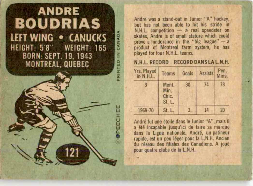 1970-71 O-Pee-Chee Andre Boudrias #121 card back image