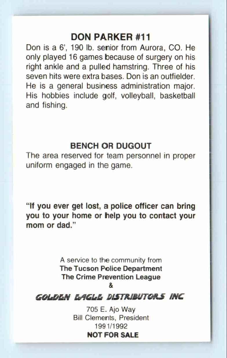 1991 Tucson Police Dept  University Of Arizona Don Parker