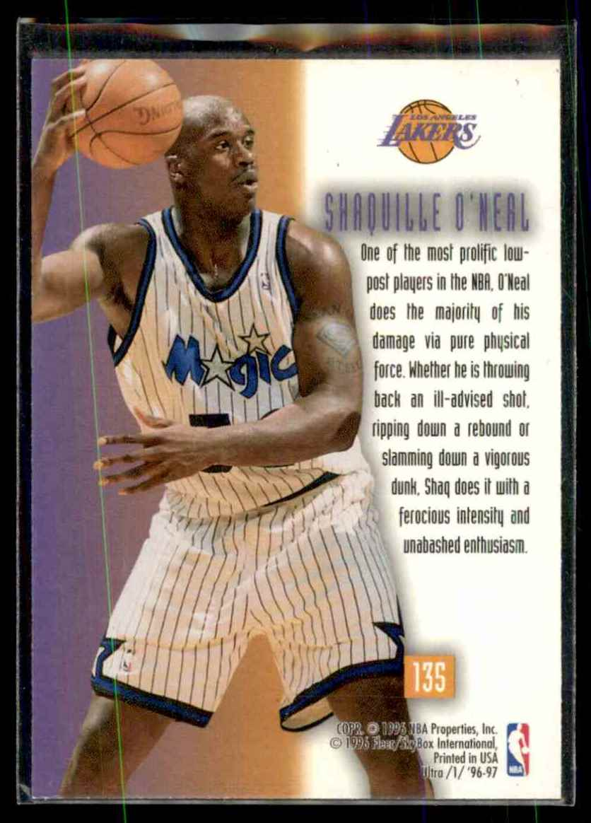 1996-97 Ultra Shaquille O'Neal Otb #135 card back image
