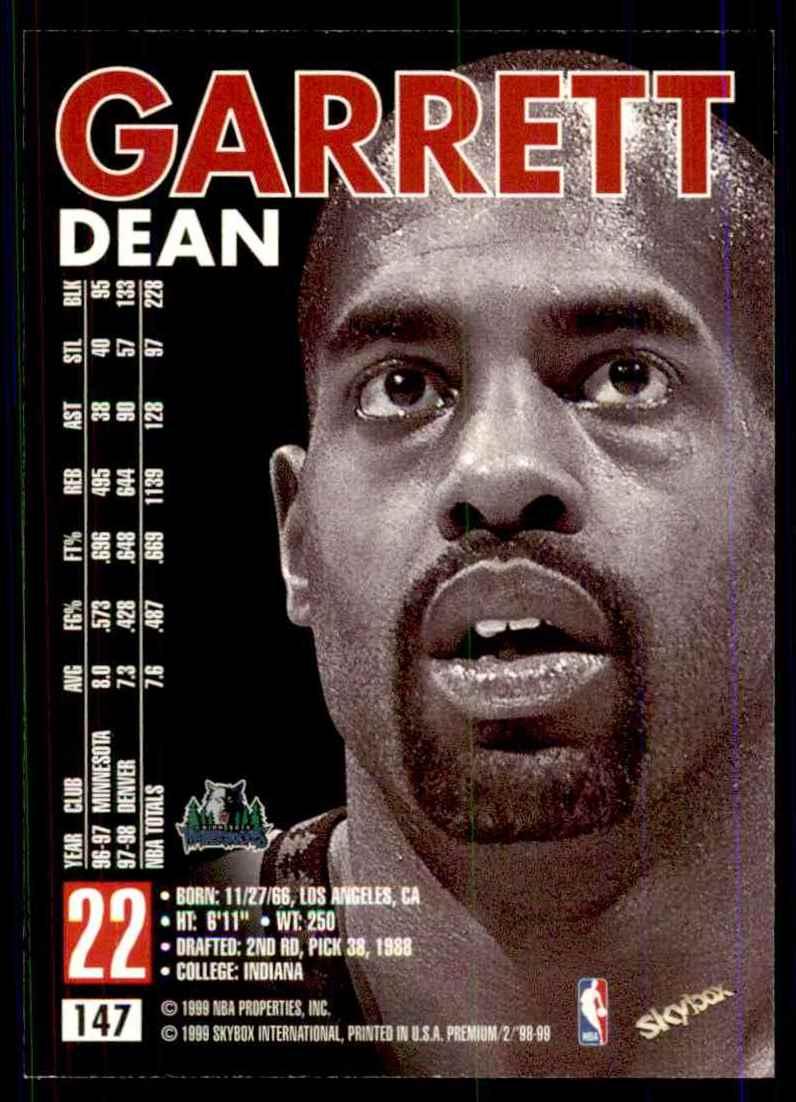 1998-99 Skybox Premium Dean Garrett #147 card back image