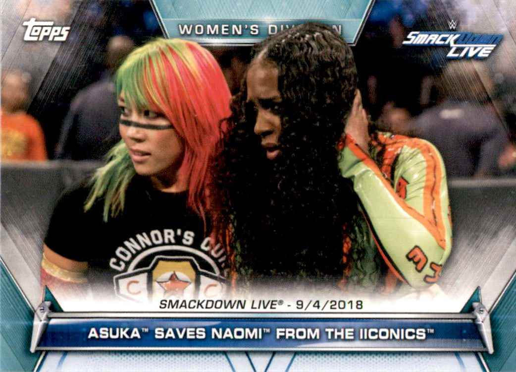 2019 Topps Wwe Women's Division Asuka Saves Naomi From The Iiconics #83 card front image