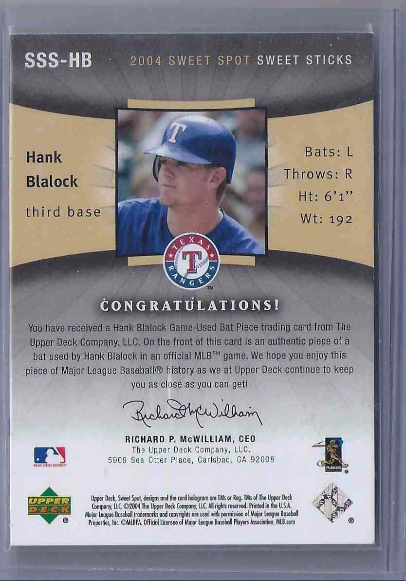 2004 Sweet Spot Sweet Sticks Hank Blalock #SSSHB card back image