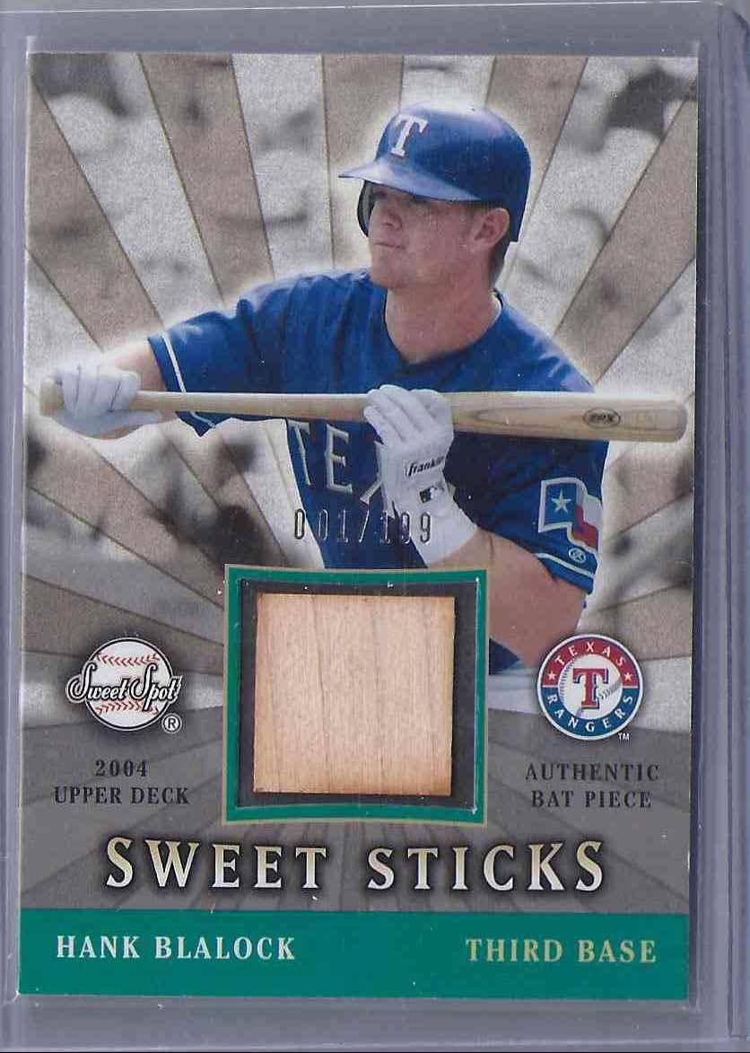 2004 Sweet Spot Sweet Sticks Hank Blalock #SSSHB card front image