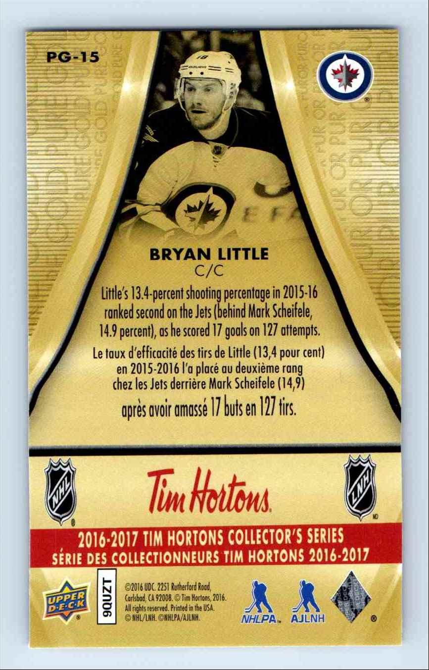 2016-17 Upper Deck Tim Horton Pure Gold Bryan Little #PG-15 card back image