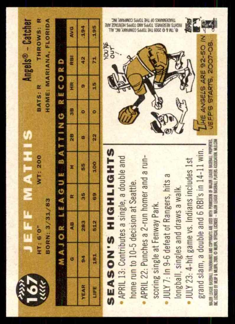 2009 Topps Heritage Jeff Mathis #167 card back image