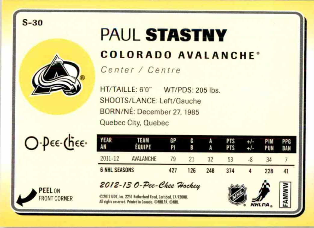 2012-13 O-Pee-Chee Stickers Paul Stastny #S-30 card back image