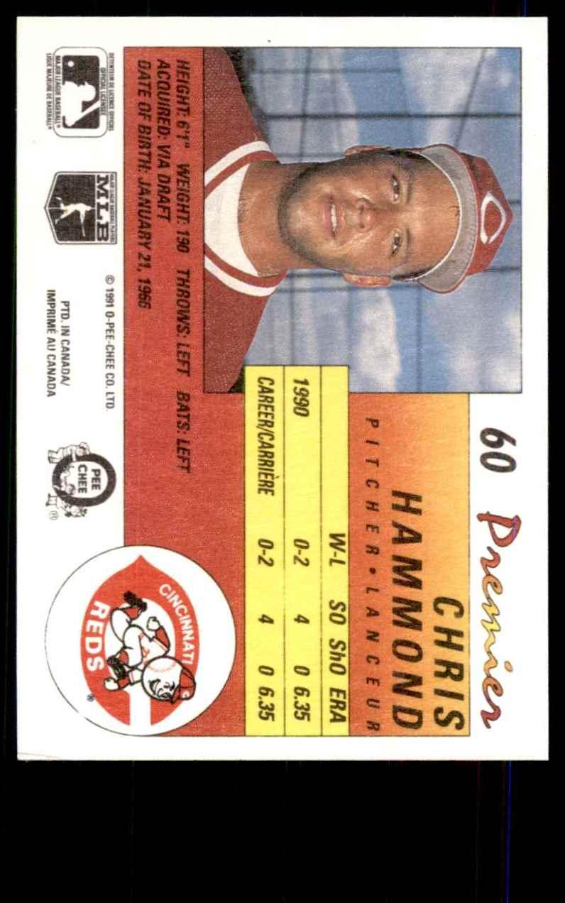 1991 O-Pee-Chee Premier Chris Hammond #60 card back image
