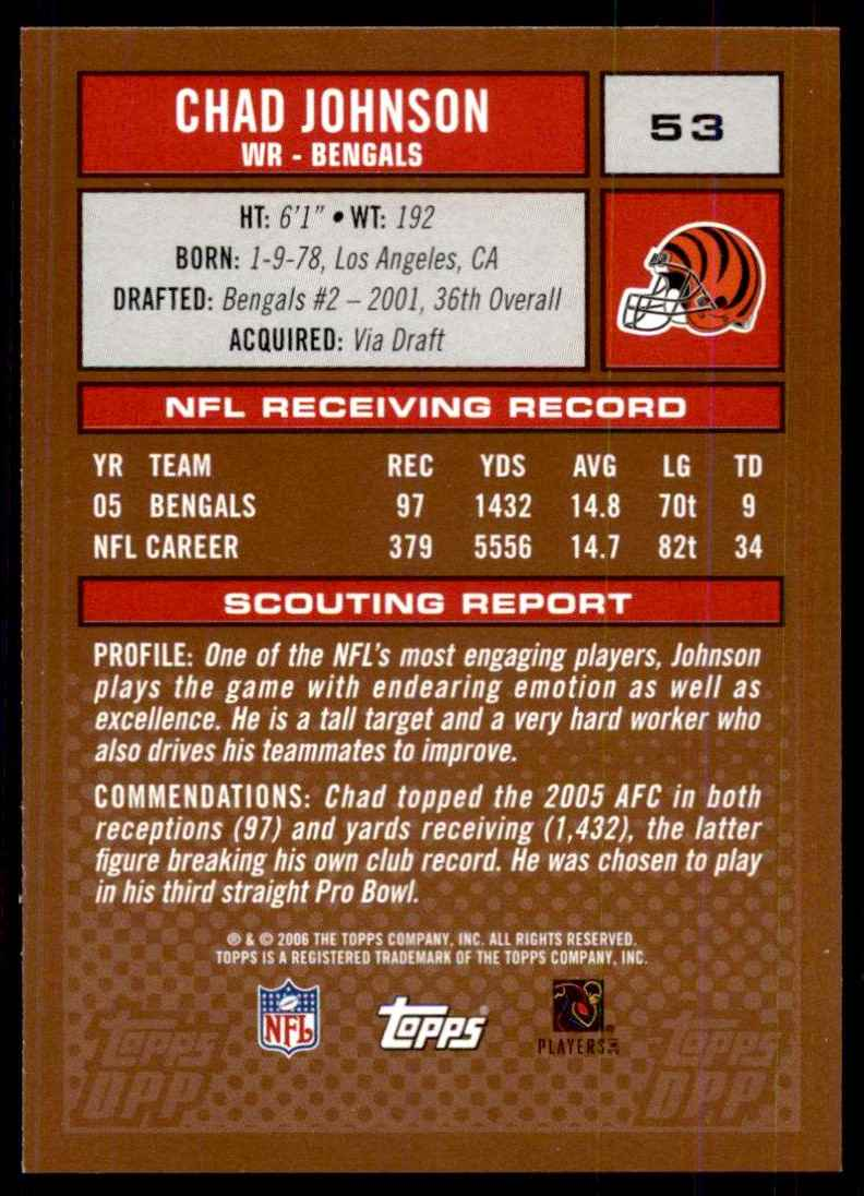 2006 Topps Draft Picks And Prospects (Dpp) Chad Johnson #53 card back image