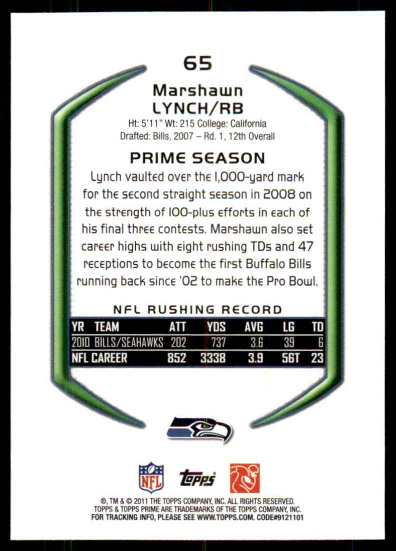 2011 Topps Prime Marshawn Lynch #65 card back image