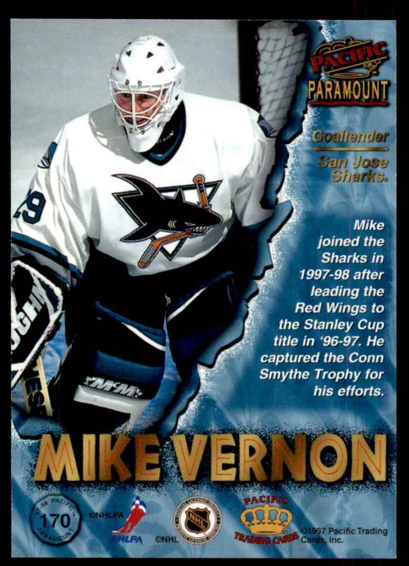 1997-98 Paramount Copper Mike Vernon #170 card back image