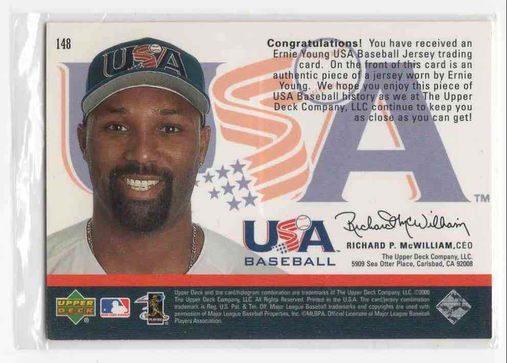 2000 Upper Deck USA Baseball Ernie Young #148 card back image