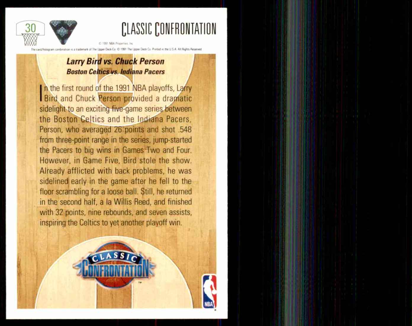 1991-92 Upper Deck Larry Bird CC/Chuck Person #30 card back image