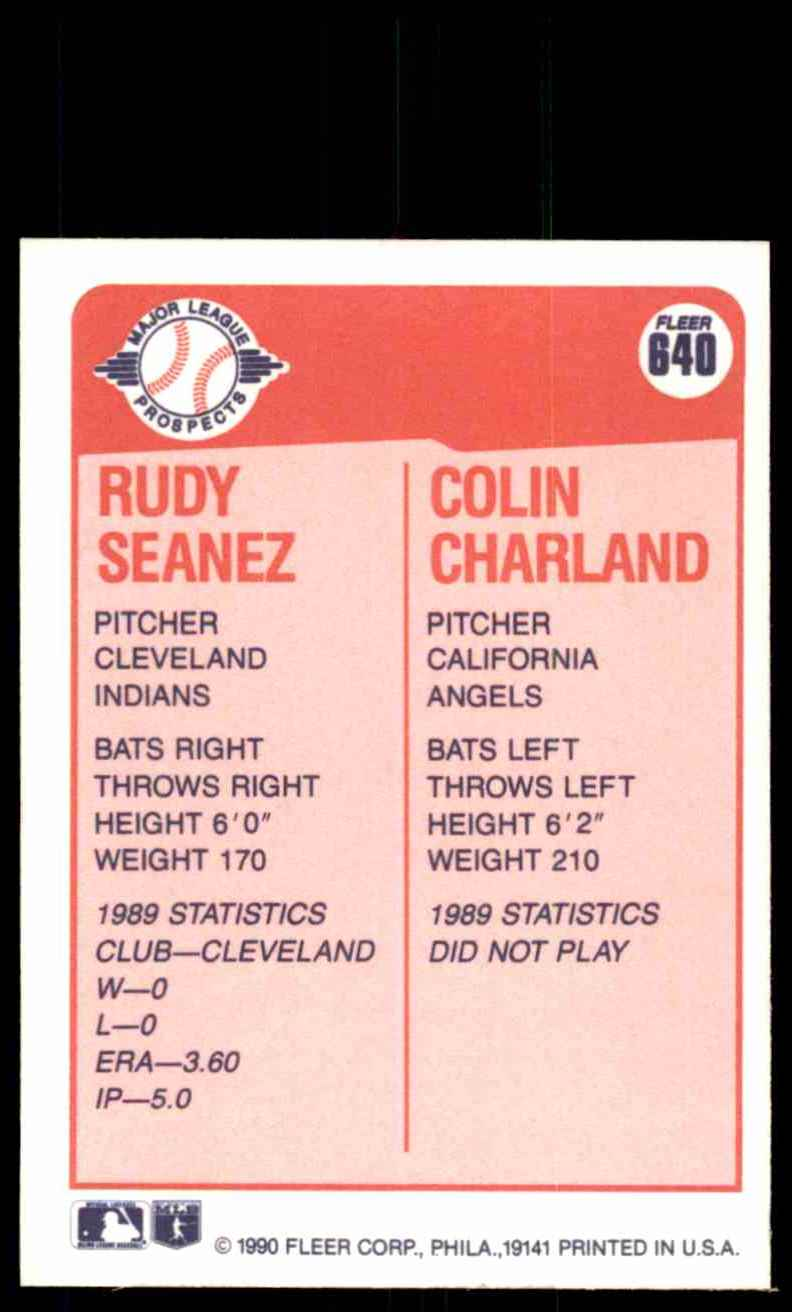 1990 Fleer Rudy Seanez RC/Colin Charland RC #640 card back image