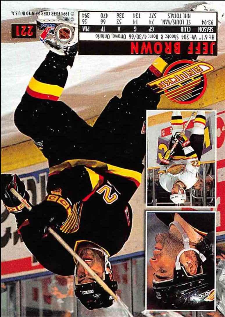 1994-95 Ultra Jeff Brown #221 card back image