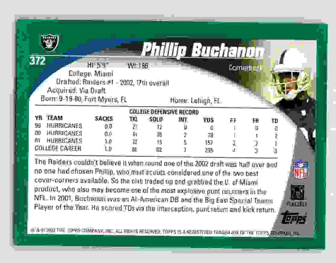 2002 Topps Phillip Buchanon #372 card back image