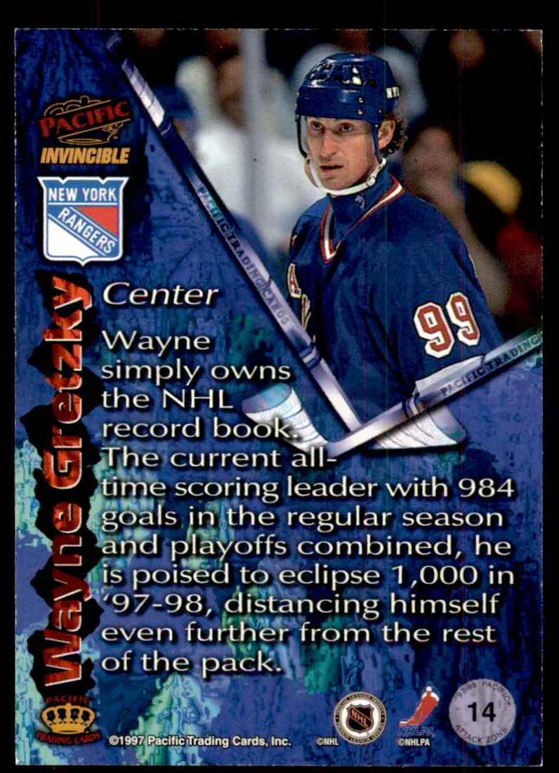 1997-98 Pacific Invincible Attack Zone Wayne Gretzky #14 card back image