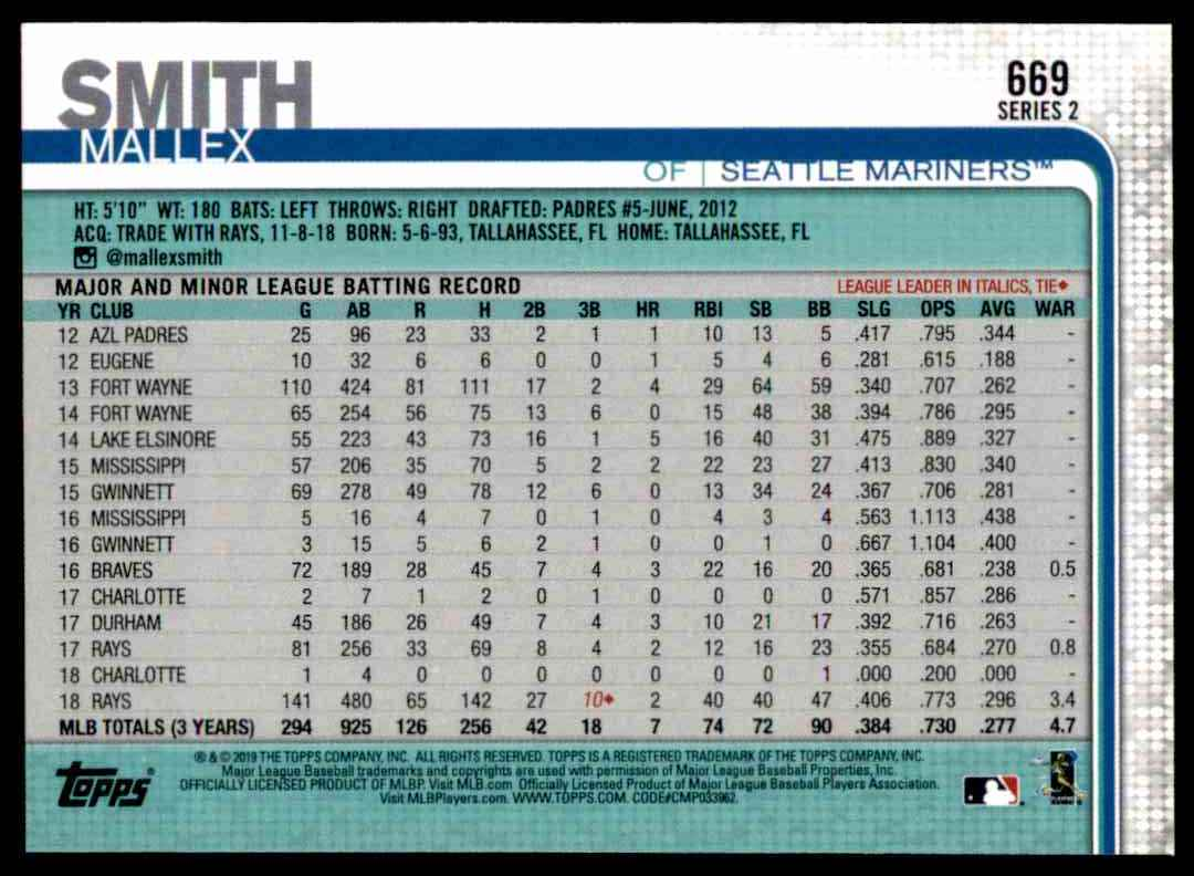 2019 Topps Series 2 Mallex Smith #669 card back image