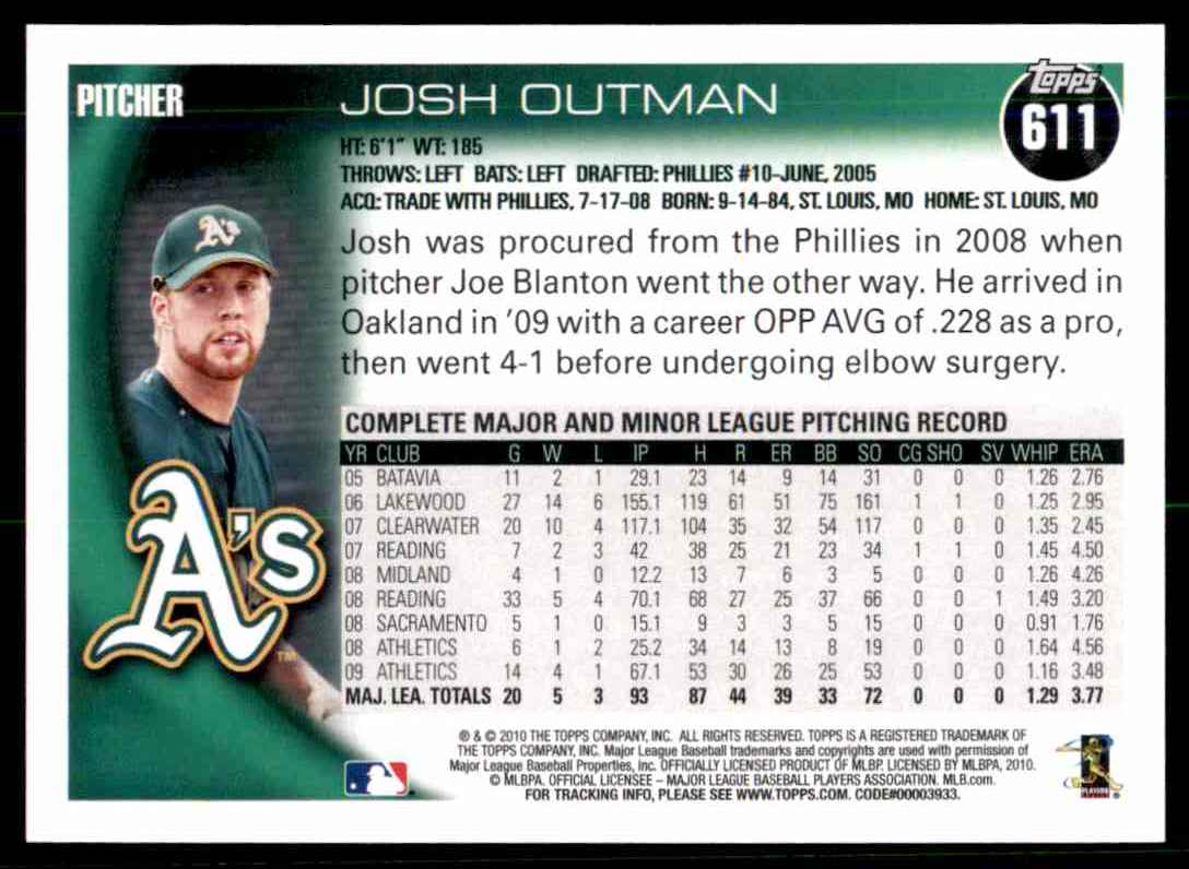 2010 Topps Josh Outman #611 card back image