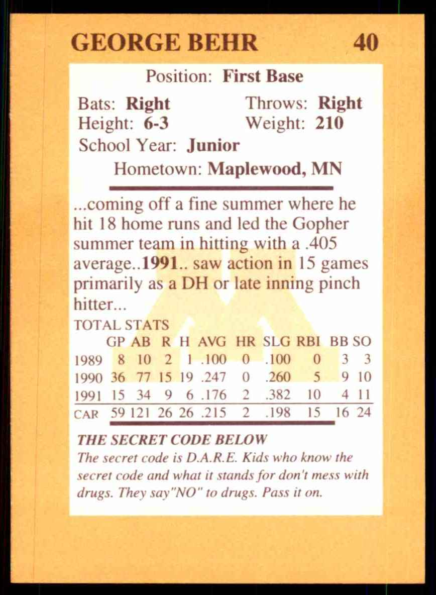 1992 Quaker Oats Minnesota Golden Gophers George Behr #40 card back image