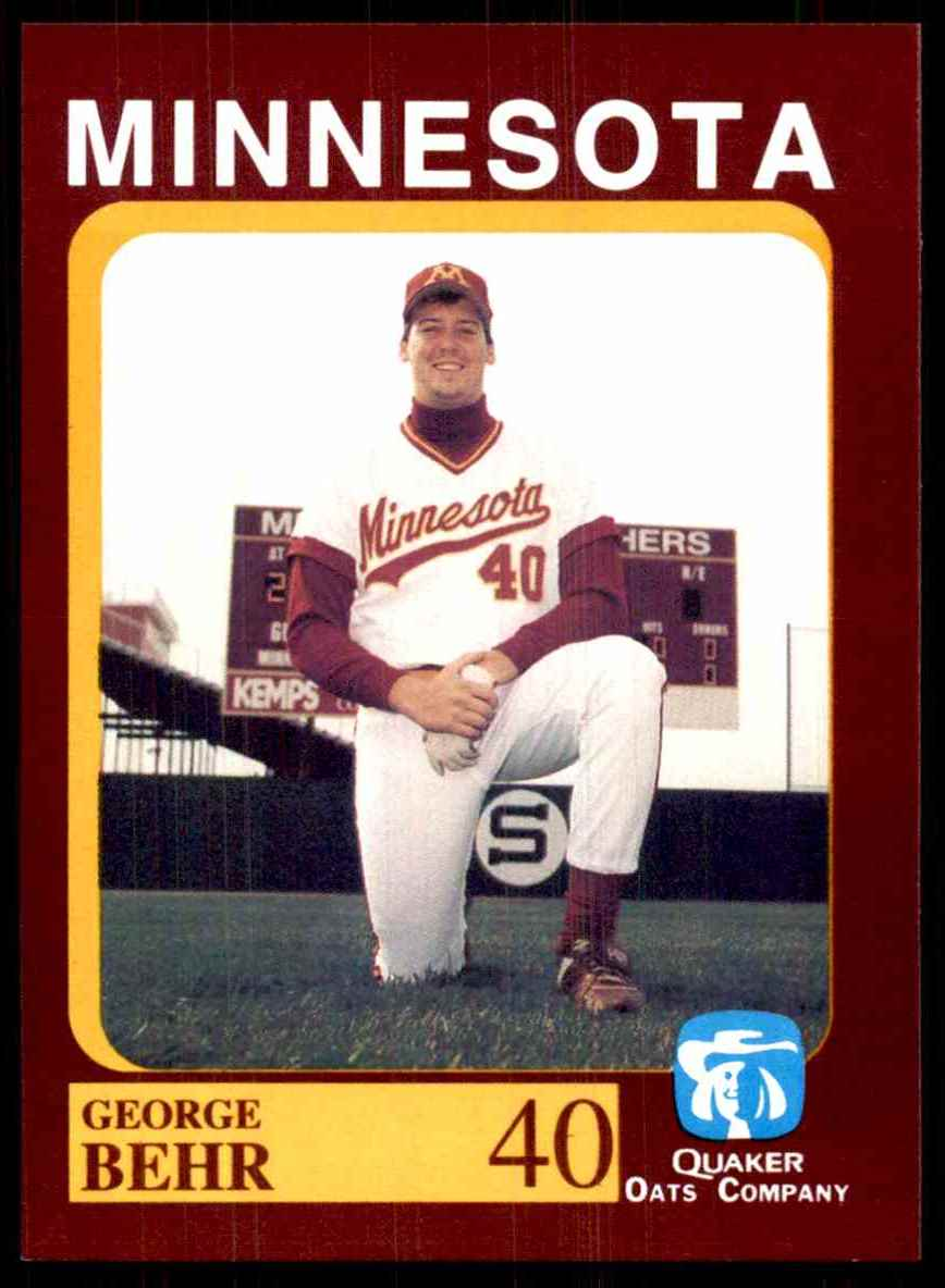 1992 Quaker Oats Minnesota Golden Gophers George Behr #40 card front image