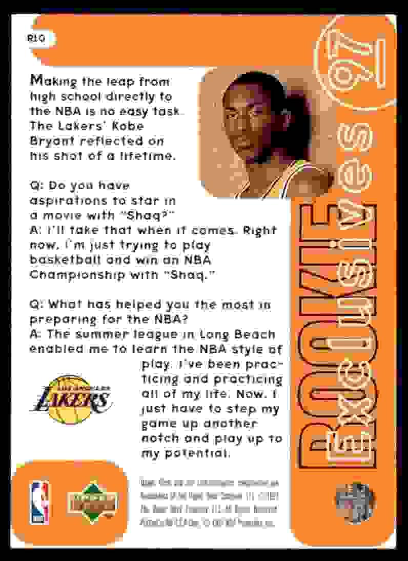1996-97 Upper Deck Rookie Exclusives Kobe Bryant #R10 card back image