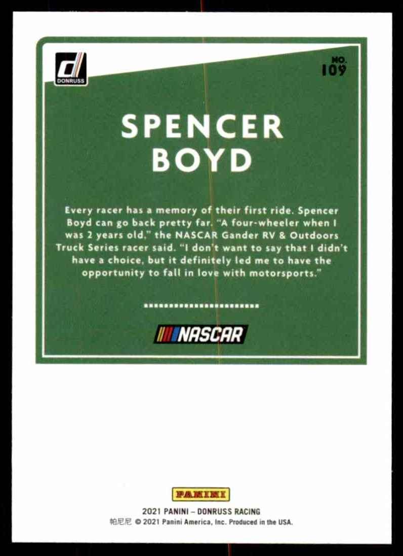2021 Donruss Spencer Boyd #109 card back image