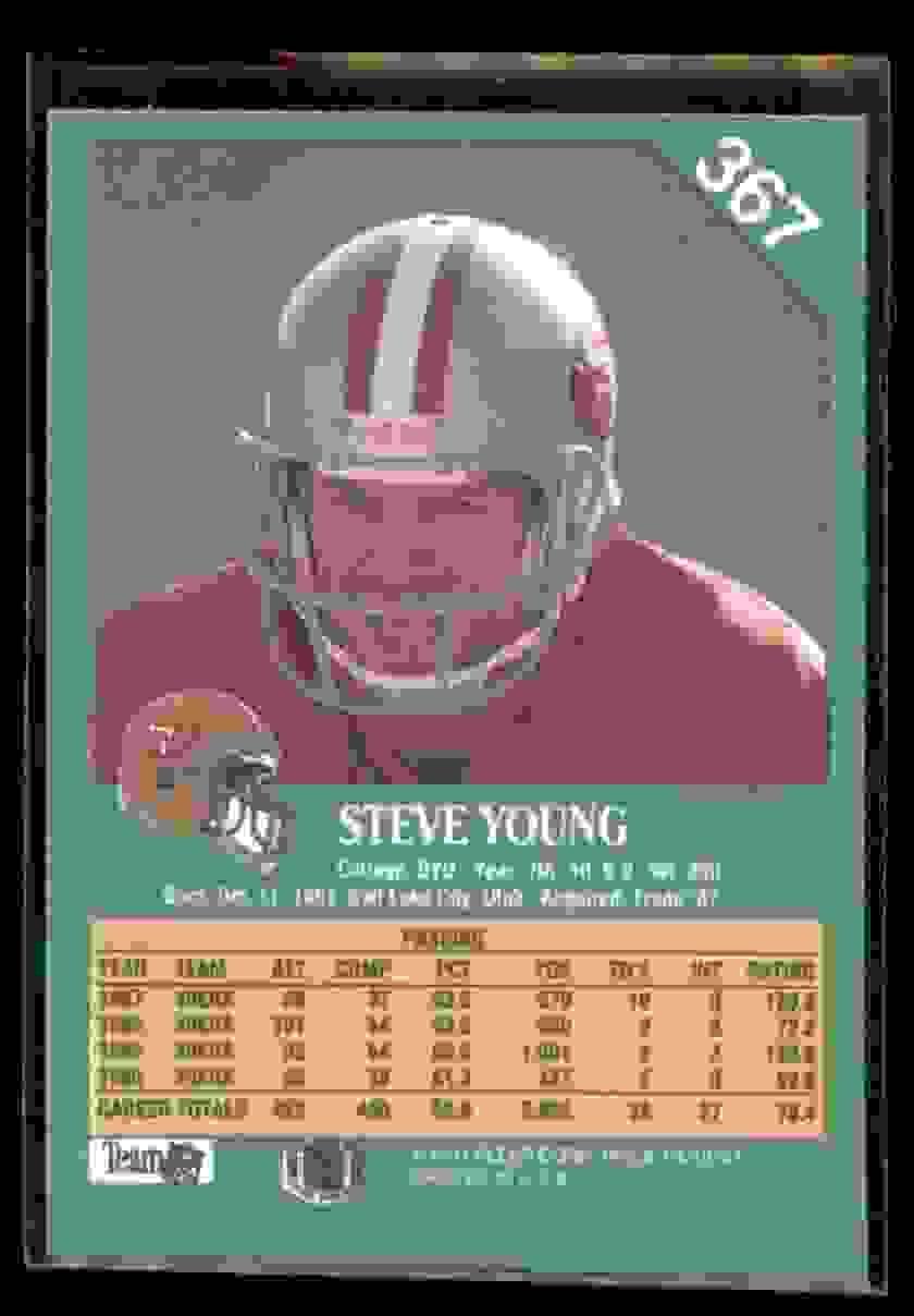 1991 Fleer Steve Young #367 card back image